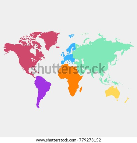 World Map Europe Asia America Africa Stock Vector (Royalty Free ...