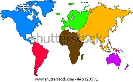 World Map Europe Asia North America Stock Vector Royalty Free