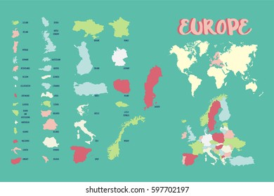 world map europe highly detailed vector illustration