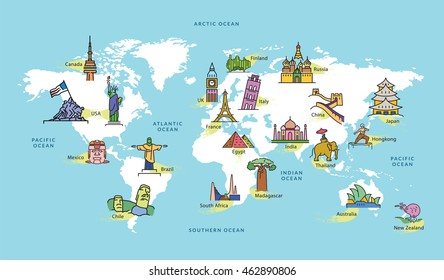 World Map with Famous Country Landmark Symbol