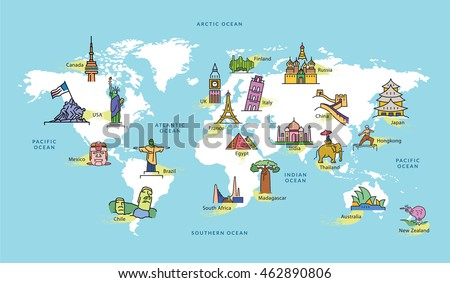 World Map Famous Country Landmark Symbol Stock Vector Royalty Free