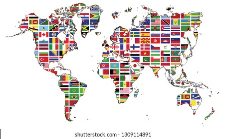 World map and World flag collection,World flags were used for background