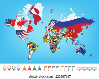 World Map Flags Images Stock Photos Vectors Shutterstock