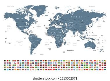 World Map and Flags - borders, countries and cities -vector illustration