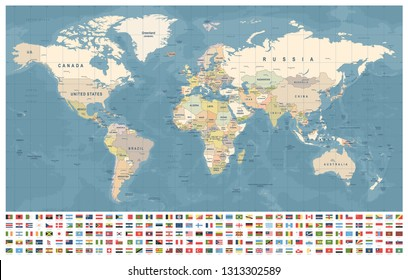 World Map and Flags - borders, countries and cities - vintage vector illustration