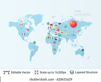 World map with flags. Country symbols and borders on the map. Vector pointer template easy to edit.