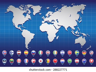 Canada map 3d stock vectors images vector art shutterstock world map with flags of different countries vector illustration freerunsca Image collections