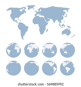 World Map flat image projection representing the surface of the Earth and three-dimensional, spherical, scale model of Earth in set of globes, white, blue color. Guide for travelling round the world
