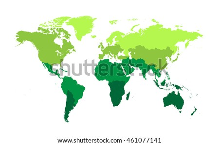 World Map Flat Vector Green Color Stock Vector Royalty Free