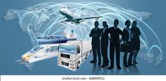 World map flight paths logistics background concept with business team, plane, truck and train