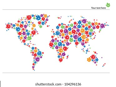 World map with flowers