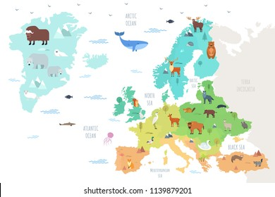 World map with funny wild animals living on European continent. Adorable cartoon herbivore and carnivore mammals and birds inhabiting Europe. Flat colorful vector illustration for educational poster.
