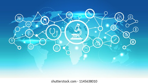 world map futuristic microscope icon interface medical healthcare network connection concept blue background flat horizontal vector illustration