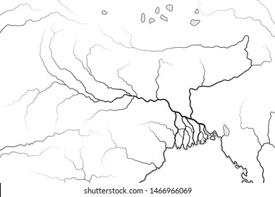 World Map of The GANGES RIVER Valley & Delta:  Ganges River And Brahmaputra River, and their Delta, India, Himalayas, Nepal, Bengal, Bangladesh, Myanmar. Geographic chart with Hindu sacred river.