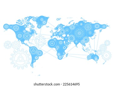 World map with gears. Eps8. RGB. Organized by layers. Global color. Gradients free.