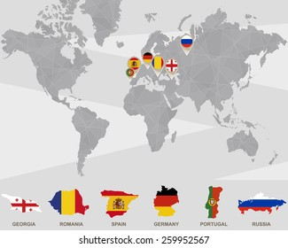 Map Of Germany And Russia.World Map Iran Usa France Uk Stock Vector Royalty Free 267875171