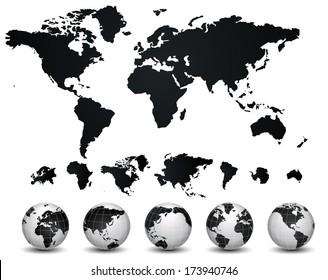 World Map and globe