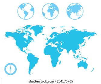 World Map and Globe with Compass Icon