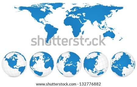 World map globe detail vector illustration stock vector royalty world map and globe detail vector illustration eps 10 gumiabroncs Gallery