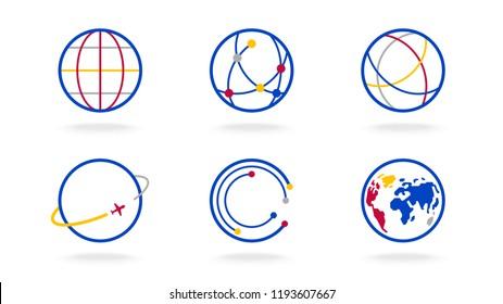 world map globe outline vector logo set