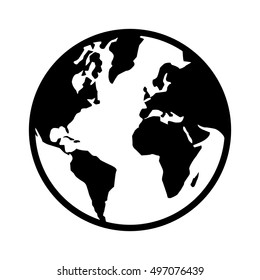 World map globe or planet earth world map line art vector icon for apps and websites