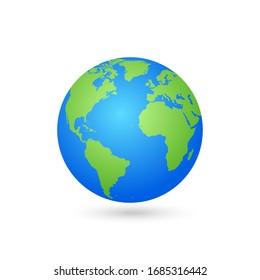 World Map and Globe Vector Illustration, EPS 10.