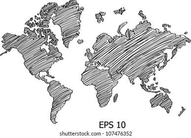 World Map Globe Vector line Illustrator, EPS 10.