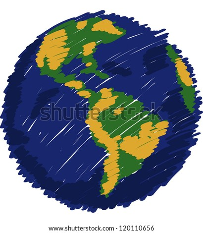 World Map Globe Vector Line Sketch Stock Vector Royalty Free