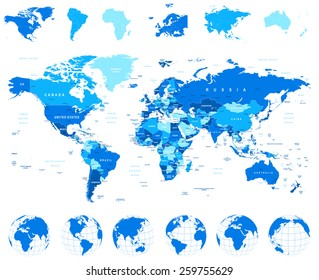 World Map, Globes, Continents - illustration Highly detailed vector illustration of world map, globes and continents