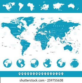 World Map, Globes, Continents, Navigation Icons - illustration Highly detailed vector illustration of world map, globes and continents