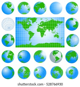 World map and globes green set. Planet Earth. Detailed vector illustration. All objects are located on separate layers. Isolated on white background