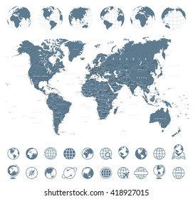 World Map, Globes, Icons - Illustration Vector set of world map and globes.