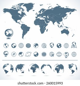 World Map, Globes Icons and Symbols - Illustration Vector set of world map and globes.