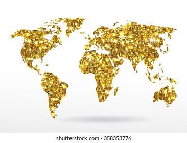 World map of gold glittering stars . Golden Modern elements of info graphics