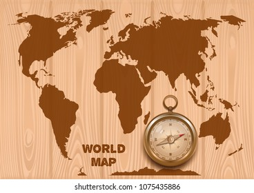 World map golden compass on wooden stock vector royalty free world map and golden compass on a wooden background trip around the world antique gumiabroncs Gallery
