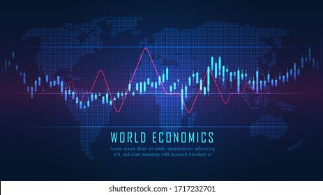 World map with graph in futuristic concept suitable for financial investment or Economic trends business idea and all art work design. Abstract finance background