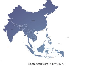 world map. graphic vector of asia map