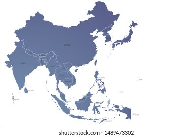 world map. graphic vector of asia countries