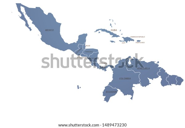 World Map Graphic Vector Caribbean Countries Stock Vector ...