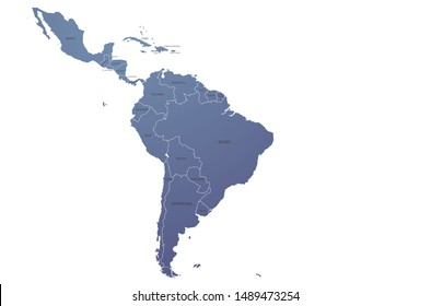 world map. graphic vector of latin america map. south america map.