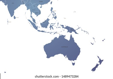 world map. graphic vector of south pacific countries. oceania country map