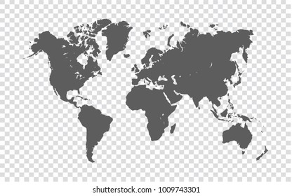 World map - gray map of world on transparent background. Vector Illustration EPS10.