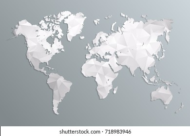 World map gray in polygonal style on dark background. isolated vector illustration eps 10