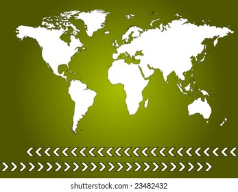world map with green background and arrows - vector image