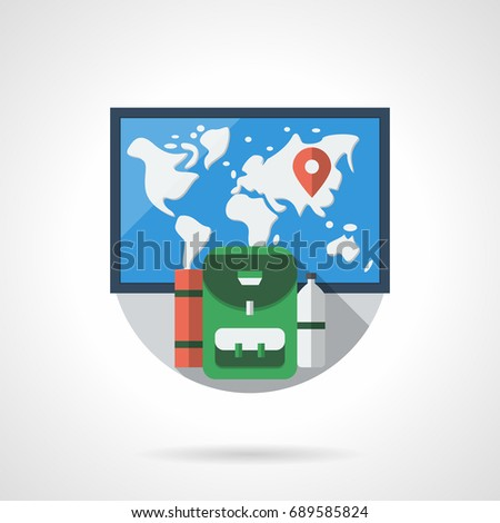 e98a69c822 World Map Green Backpack Round Flat Stock Vector (Royalty Free ...