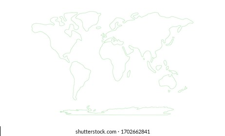World map with green outline vector image