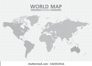 World map and grid vector