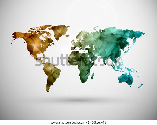 ワールドマップ、グランジ。EPS10