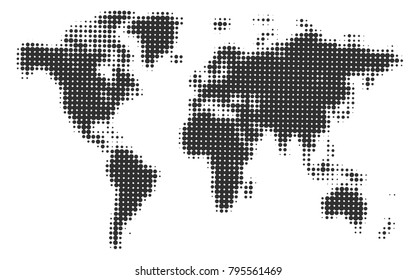 World map halftone. Stylized vector illustration for world news and articles. Black circles of different diameter on white background. Continents and islands contours. Geography dotted design.