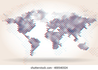 world map halftone vector template